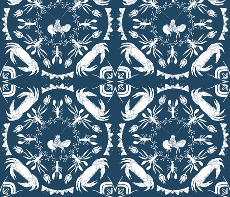 NauticalMandala-blue fabric by onelittleprintshop on Spoonflower - custom fabric