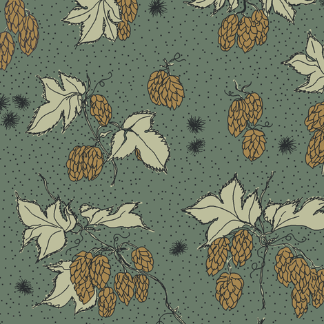 mustard hops and spiky burr on a dark green background. fabric by a_bushel_of_hops on Spoonflower - custom fabric