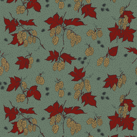 mustard hops and spiky burr on a dark green bg  fabric by a_bushel_of_hops on Spoonflower - custom fabric