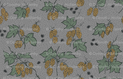 mustard hops and spiky burr on a grey bg
