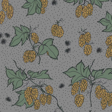 mustard hops and spiky burr on a grey bg fabric by a_bushel_of_hops on Spoonflower - custom fabric
