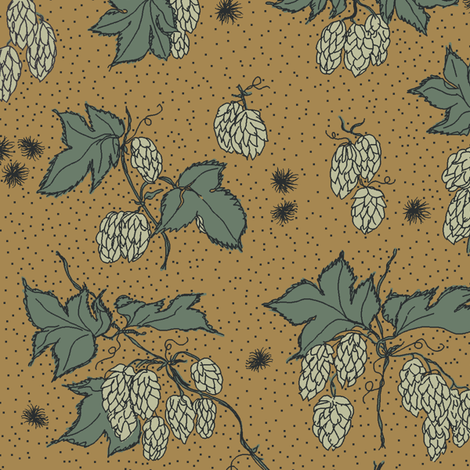 pale green hops and spiky burr on a mustard bg fabric by a_bushel_of_hops on Spoonflower - custom fabric