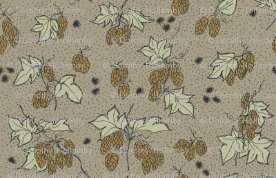 mustard hops and spiky burr on an old linen bg