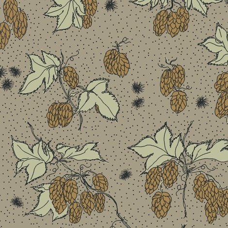Rr07._allover_hops_and_spider_burrs_outline_and_dots_repeat_coloured_in_on_old_linen_shop_preview