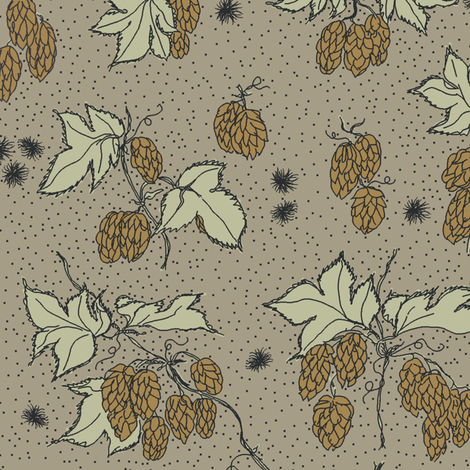 mustard hops and spiky burr on an old linen bg fabric by a_bushel_of_hops on Spoonflower - custom fabric