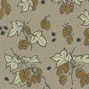 mustard hops and spiky burr on an old linen bg