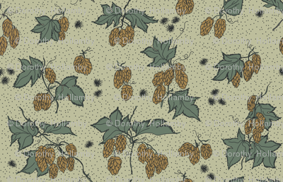 mustard hops and spiky burr on a pale green background