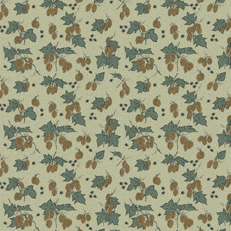 mustard hops and spiky burr on a pale green background fabric by a_bushel_of_hops on Spoonflower - custom fabric
