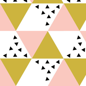 Pink gold black triangle cheater quilt - baby blanket