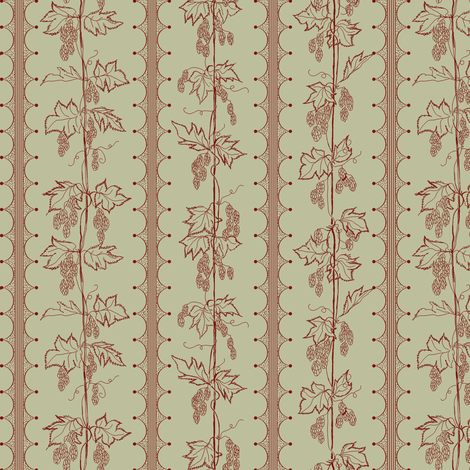 red hop bines on a pale green back ground fabric by a_bushel_of_hops on Spoonflower - custom fabric