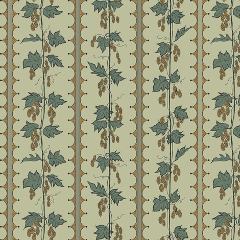 mustard hops climbing up string on a pale green background fabric by a_bushel_of_hops on Spoonflower - custom fabric