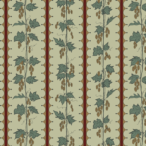 mustard hops climbing up string on a pale green bg with red stripes fabric by a_bushel_of_hops on Spoonflower - custom fabric