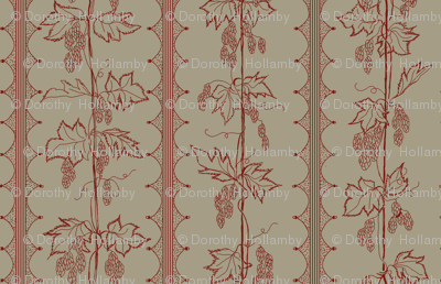 red hops in stripes with hand drawn curves on a linen BG