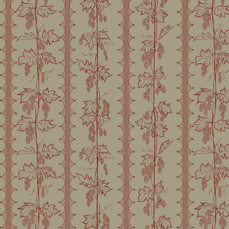 red hops in stripes with hand drawn curves on a linen BG fabric by a_bushel_of_hops on Spoonflower - custom fabric