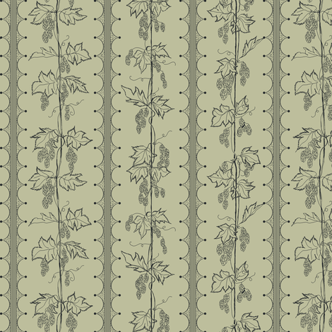 Charcoal Hops in Stripes on a pale green BG fabric by a_bushel_of_hops on Spoonflower - custom fabric