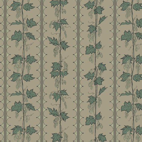 Rrrhops_in_stripes_hand_drawn_curves_linen_bg_green_leaves_and_pale_green_hops_shop_preview
