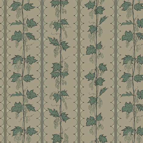 Green hops in Stripes with hand drawn curves on a linen bg fabric by a_bushel_of_hops on Spoonflower - custom fabric