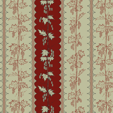 Hops in red and pale green stripes with hand drawn curves fabric by a_bushel_of_hops on Spoonflower - custom fabric