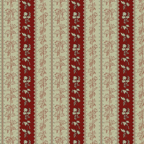 Hops in red and pale green stripes with hand drawn curves