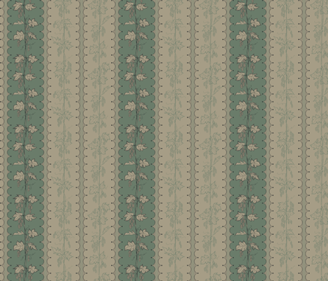 Hops in Stripes on dark green and linen stripes fabric by a_bushel_of_hops on Spoonflower - custom fabric