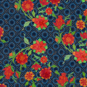 Mavi flowers blue pattern background