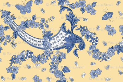 Imma Toile in Delft on buttercup yellow