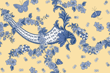 Imma Toile in Delft on buttercup yellow fabric by lilyoake on Spoonflower - custom fabric