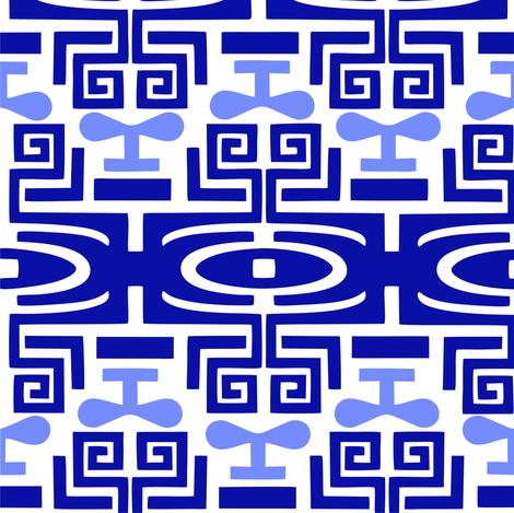 Tattoo_lt_blue_dk_blue fabric by malolo on Spoonflower - custom fabric