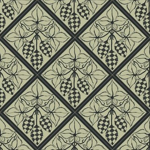 chequered hops in charcoal on a pale green diamond BG