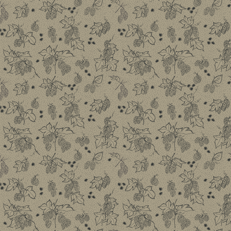 outlines of hop and burr on an old linen BG fabric by a_bushel_of_hops on Spoonflower - custom fabric