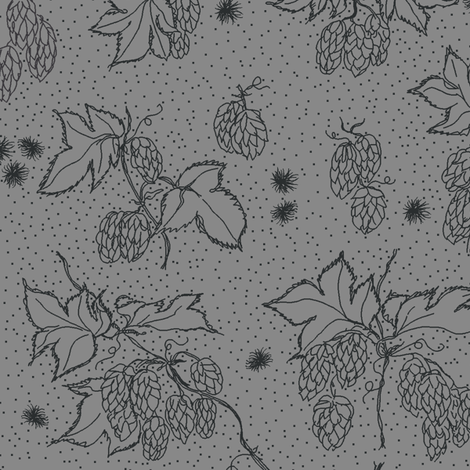 outlines of hop and burr on a grey BG fabric by a_bushel_of_hops on Spoonflower - custom fabric