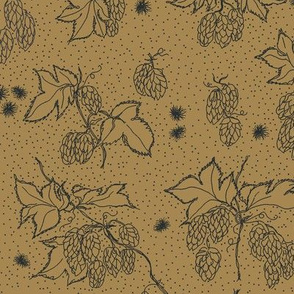 outlines of hop and burr on a mustard BG