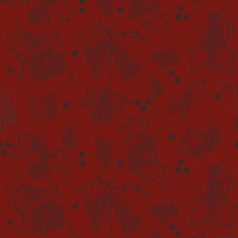 outlines of hop and burr on a red BG fabric by a_bushel_of_hops on Spoonflower - custom fabric