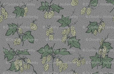 pale green hops with dark green leaves on a grey BG