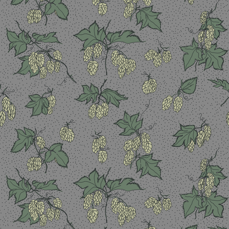 pale green hops with dark green leaves on a grey BG fabric by a_bushel_of_hops on Spoonflower - custom fabric