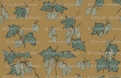 pale green hops with dark green leaves on a mustard BG