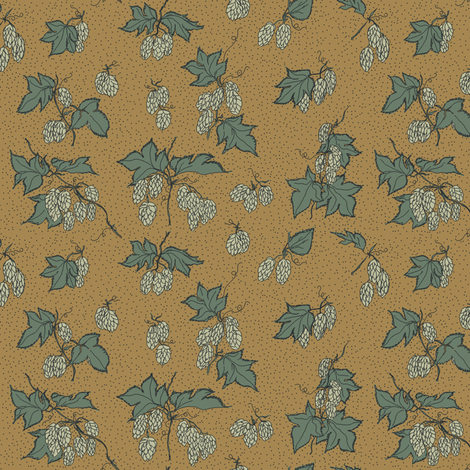 pale green hops with dark green leaves on a mustard BG fabric by a_bushel_of_hops on Spoonflower - custom fabric