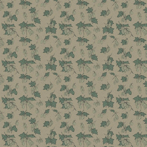 pale green hops with dark green leaves on an old linen BG