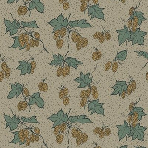 mustard hops with dark green leaves on an old linen BG