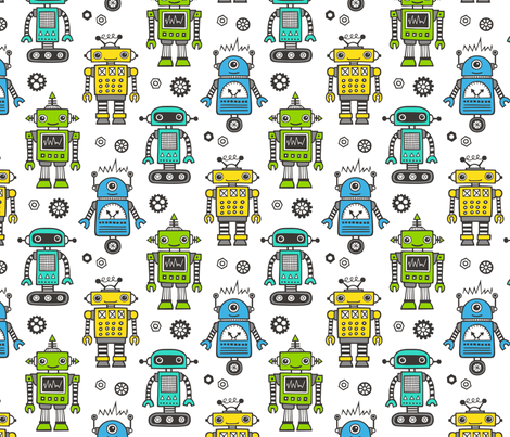 Retro Robots fabric by caja_design on Spoonflower - custom fabric