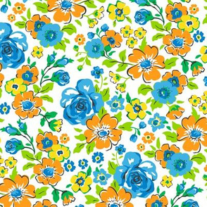 Ditsy Flowers Floral with blue