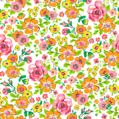 Ditsy Flowers Floral Pink,Orange