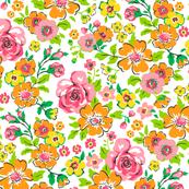Ditsy Flowers Floral Pink,Orange