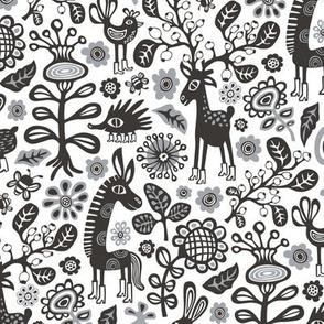 On high Heels Deer black&white,gray