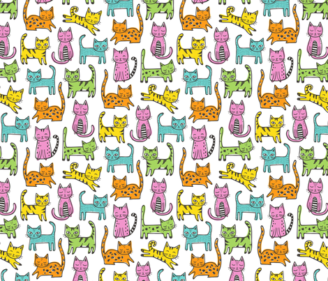 Cats with Stripes Coloured fabric by caja_design on Spoonflower - custom fabric