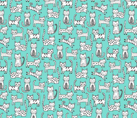 Cats with Stripes Mint Green fabric by caja_design on Spoonflower - custom fabric