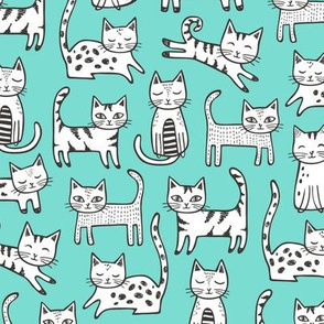 Cats with Stripes Mint Green