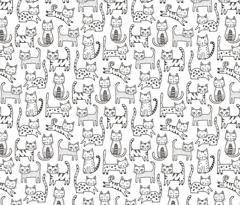 Cats with Stripes Black&White fabric by caja_design on Spoonflower - custom fabric