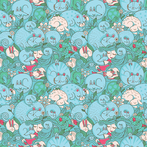 Sleepy Animal Forest fabric by jadefrolics on Spoonflower - custom fabric