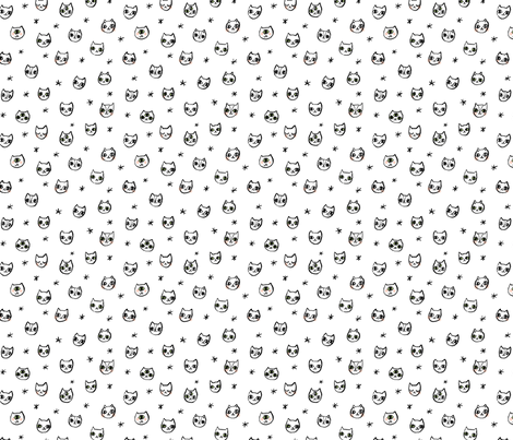 Black and White Cat Heads fabric by jadefrolics on Spoonflower - custom fabric